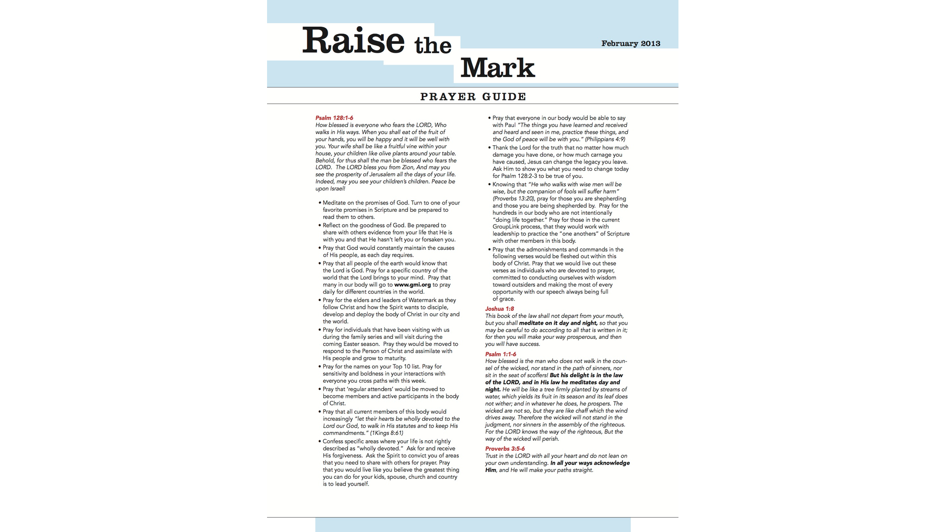 Download The Raise The Mark Prayer Guide From February 2013 Hero Image