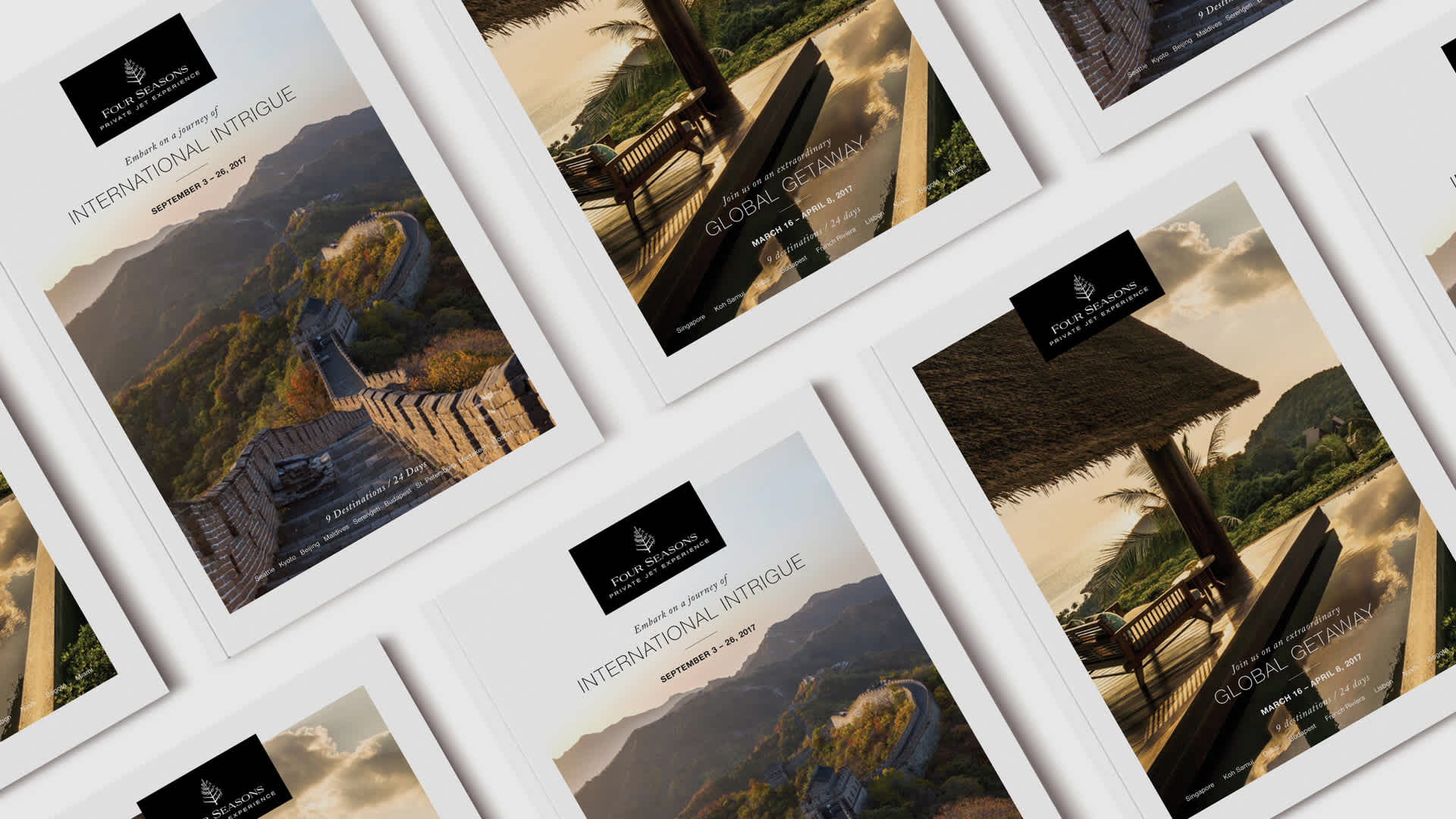Multiple private jet print brochures