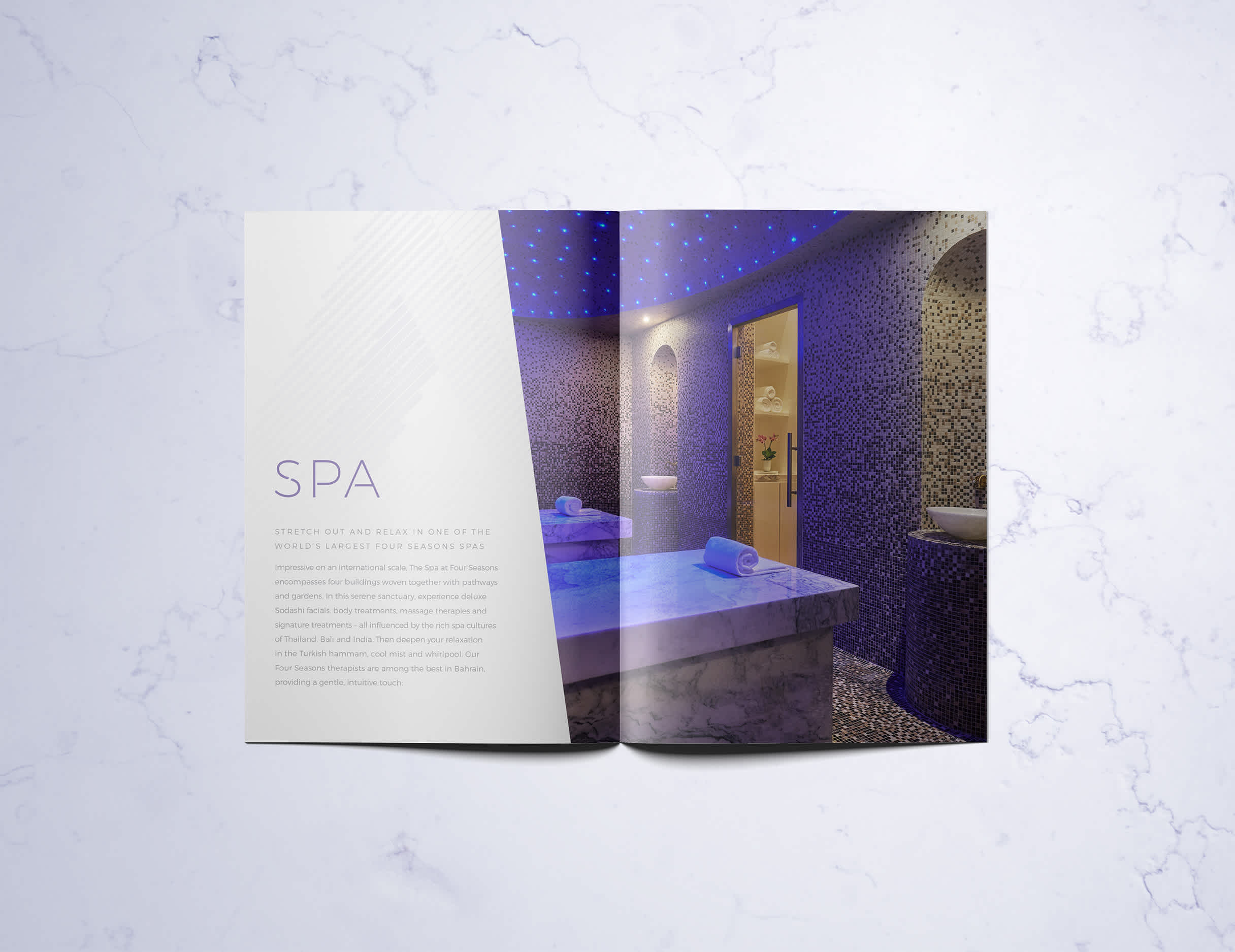 Internal Spread of Print Spa Brochure for Private Membership