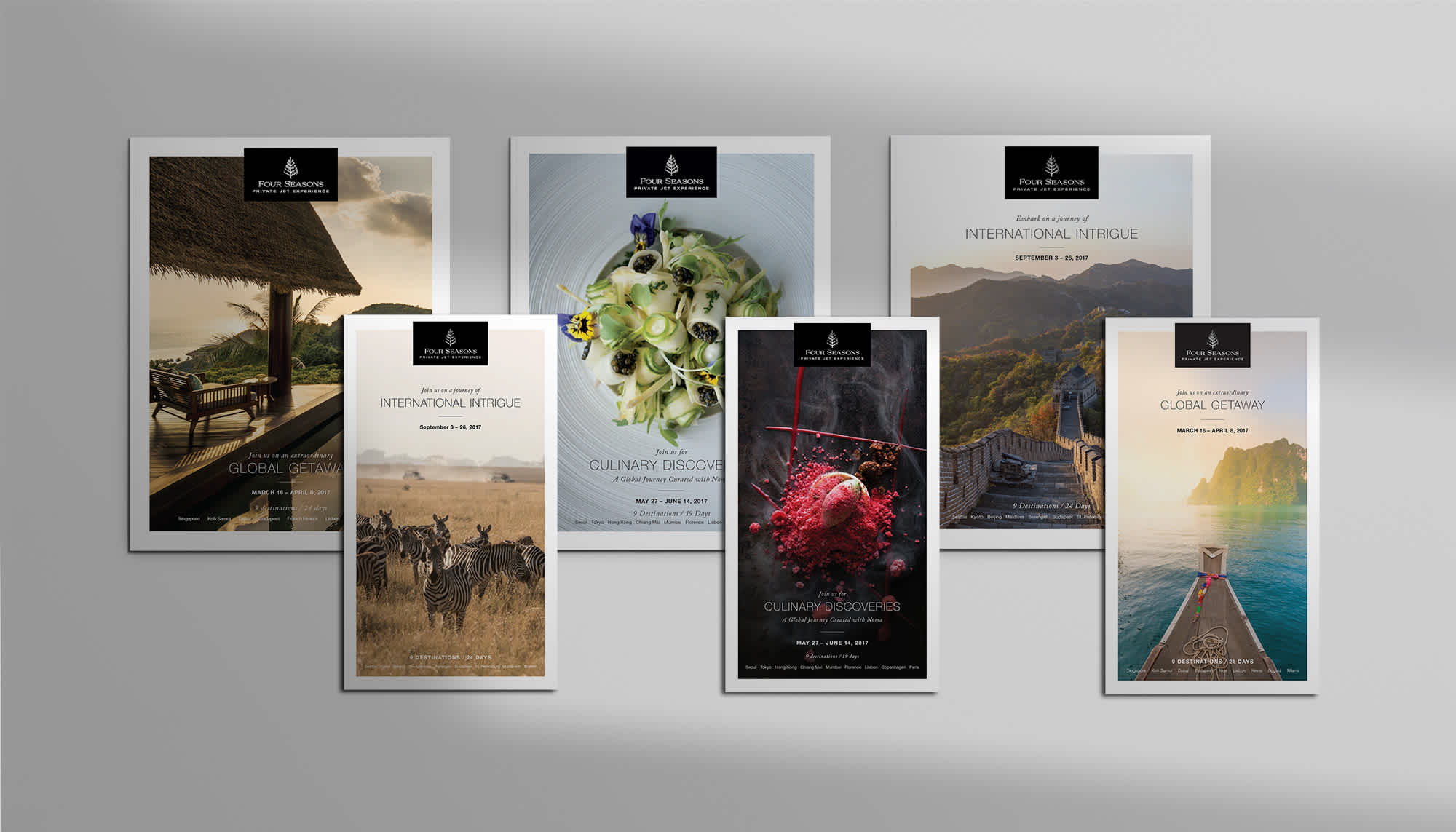 Front Covers of Private Jet Print Brochures