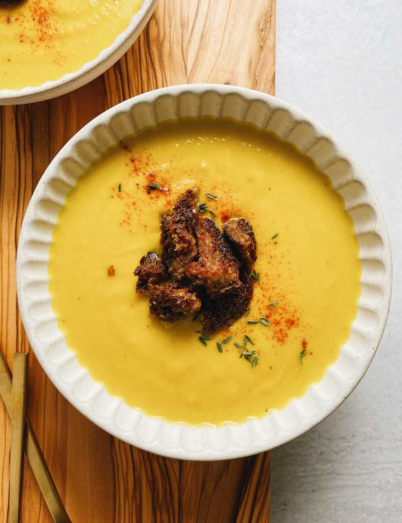 Creamy Delicata Soup W Brown Butter Croutons