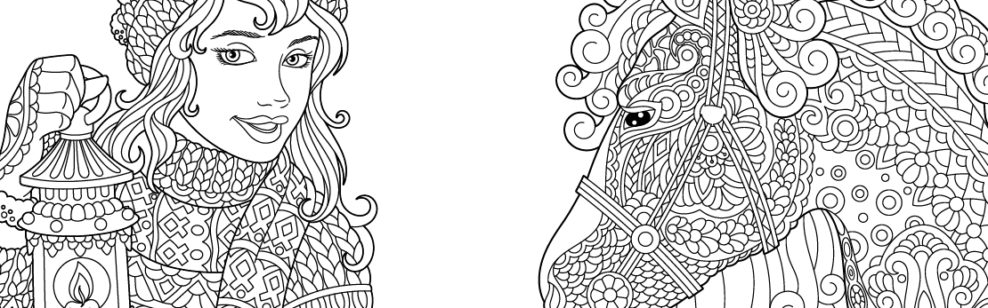 Colouring in woman and horse preview