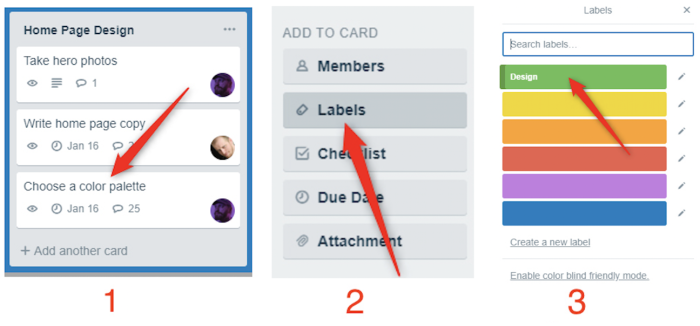 Add labels to cards
