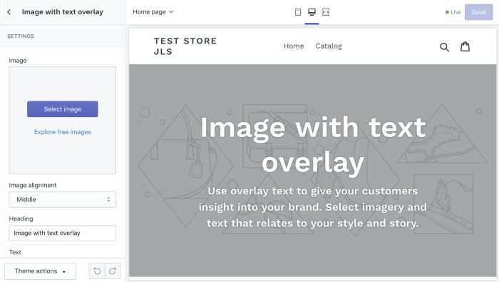 Shopify page builder screenshot