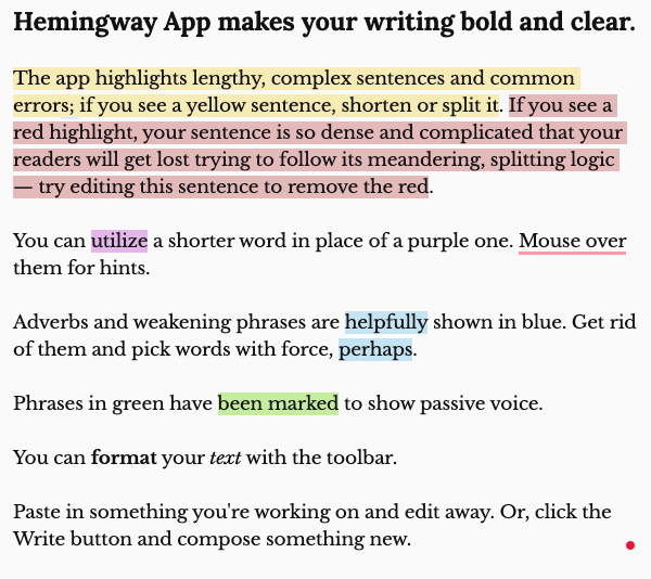 A written paragraph, describing how the Hemingway app works. Various colored highlights indicate different mistakes Hemingway catches in writing.