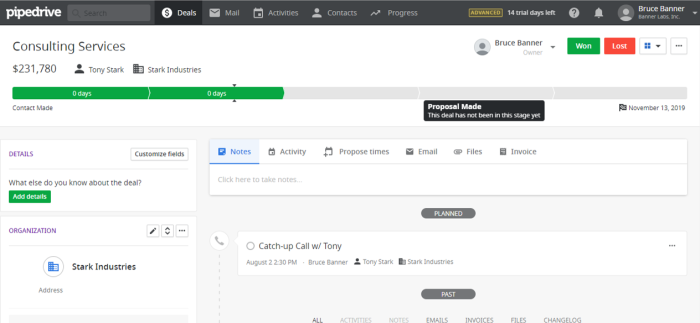 Examining a deal in Pipedrive CRM