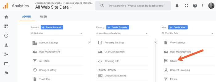 view google analytics goals