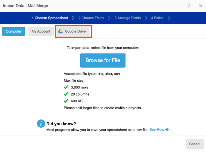 """A screenshot of the Avery tool interface with an orange box around the button for """"Google Drive."""""""