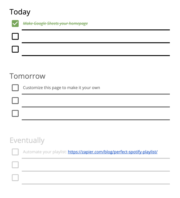A to-do list with three sections in Google Sheets