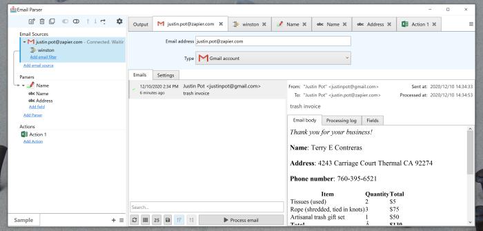 Captura de pantalla de la vista de la bandeja de entrada del analizador de correo electrónico