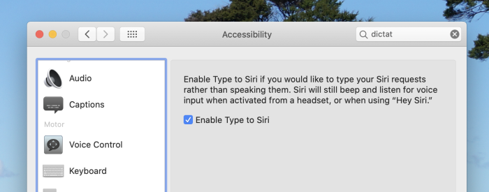 Type to Siri in macOS