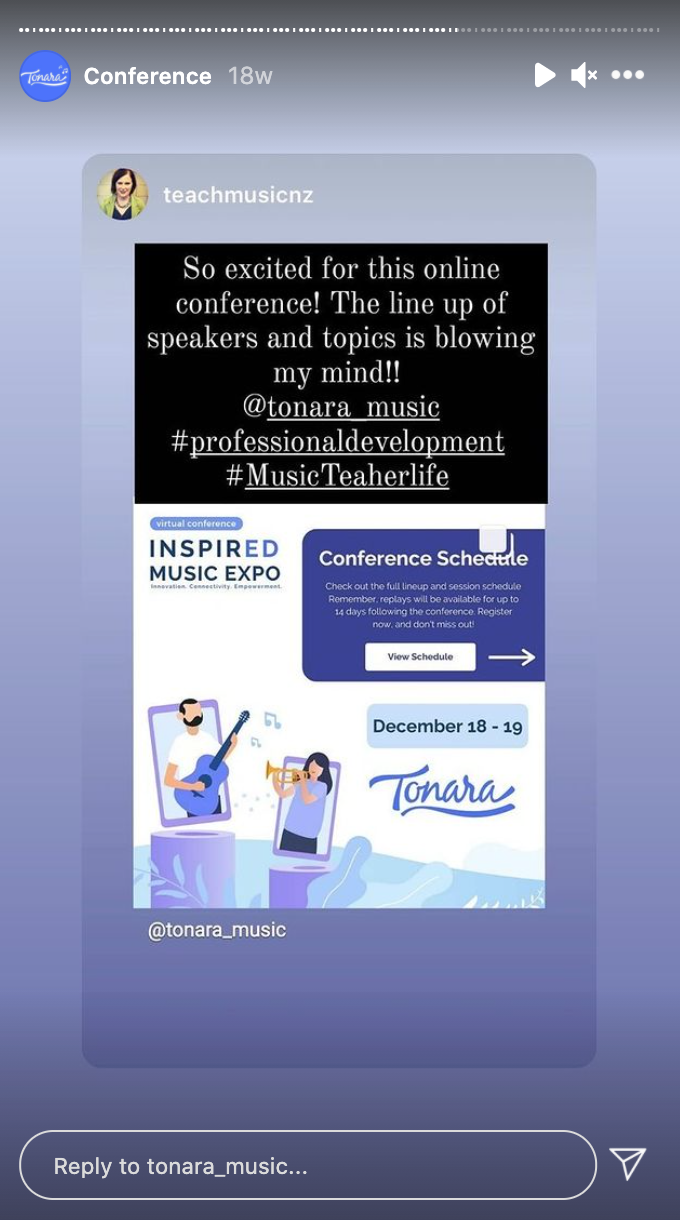 A post from a user on Instagram about the Tonara conference
