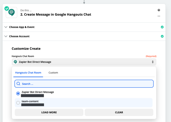 A screenshot of the Google Hangouts Chat portion of the Zap Editor. A dropdown menu next to the Chat Room field lists Zapier Bot Direct Message among a list of rooms.