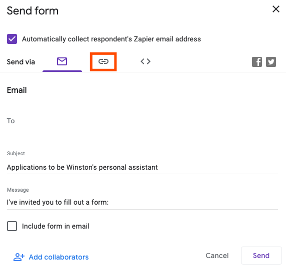 A Google Form pop-up of sharing options. A red box highlights a chainlink symbol.