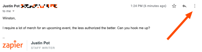 An email in Gmail. A red arrow points to three vertical dots on the upper-right corner of the email message.