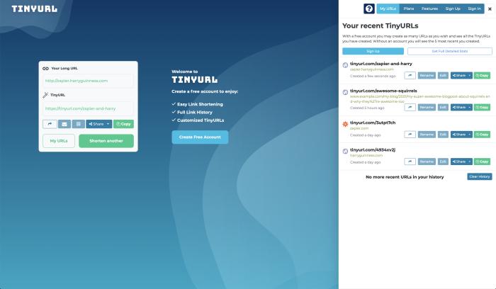 TinyURL URL shortener