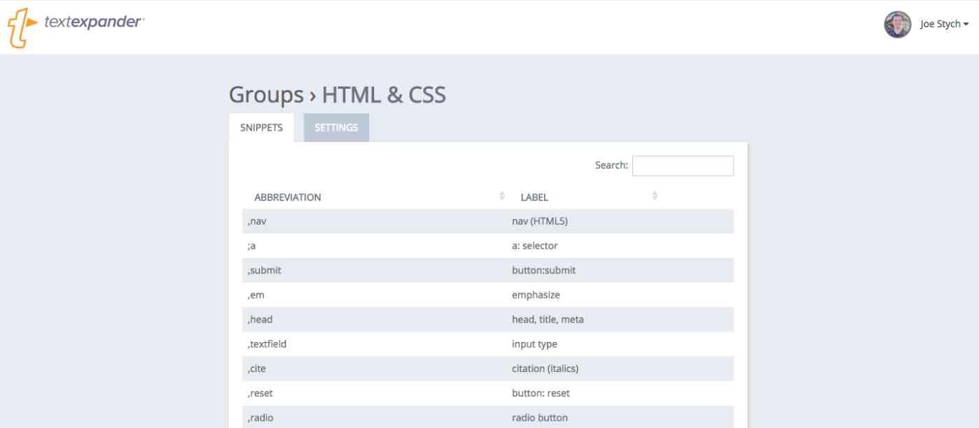 TextExpander web app