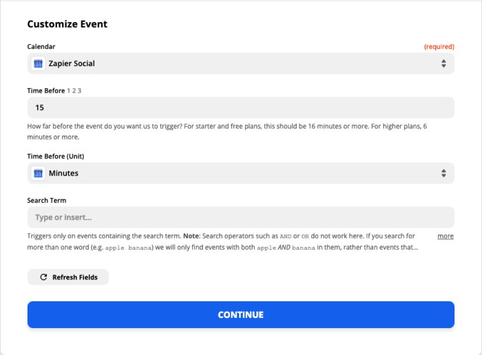 A screenshot of the Customize Event step in the Zap Editor.