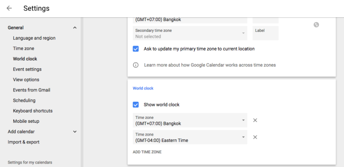 Google Calendar World Clock settings