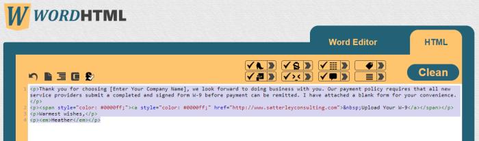 WordHTML example