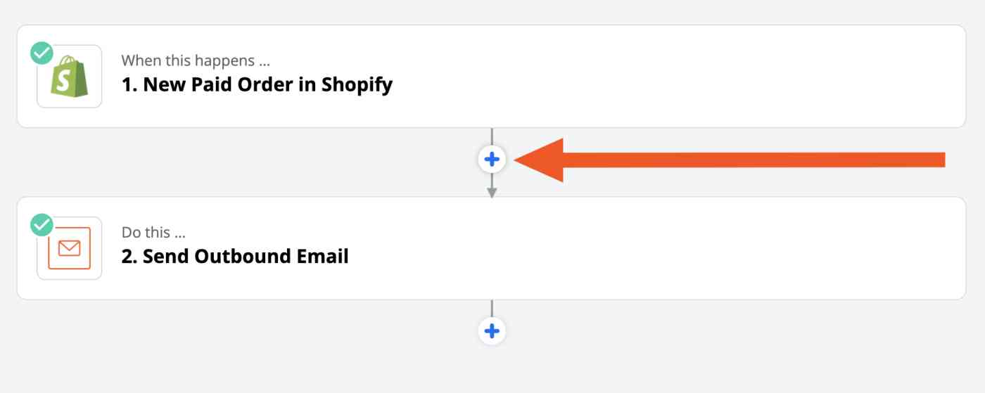 Arrow pointing to the plus button in the Zap editor.