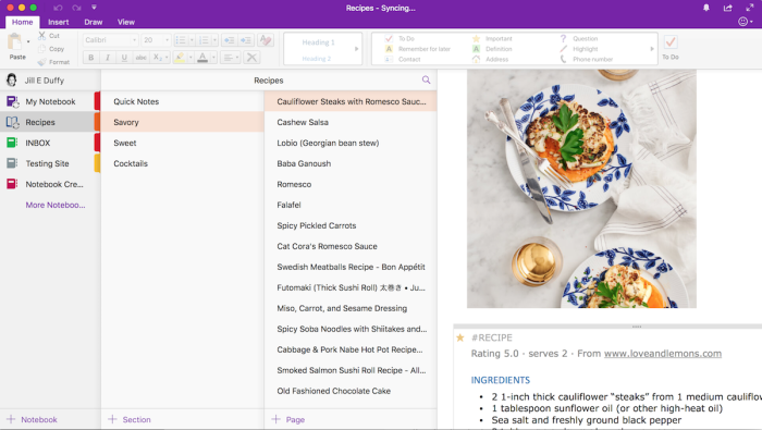 OneNote look and feel 2018