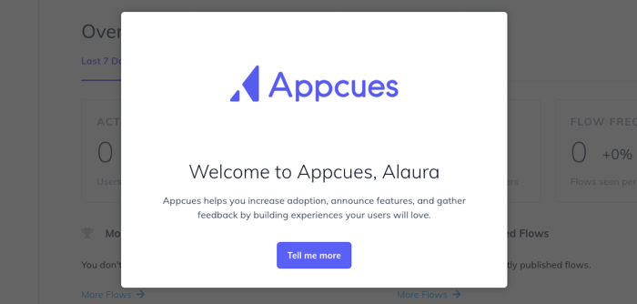 Appcues welcome message