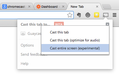 Chromecast experimental options