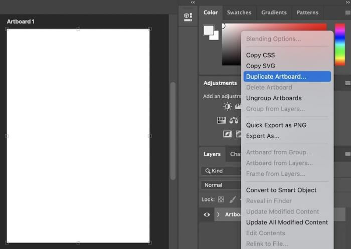 Making multiple artboards in Photoshop