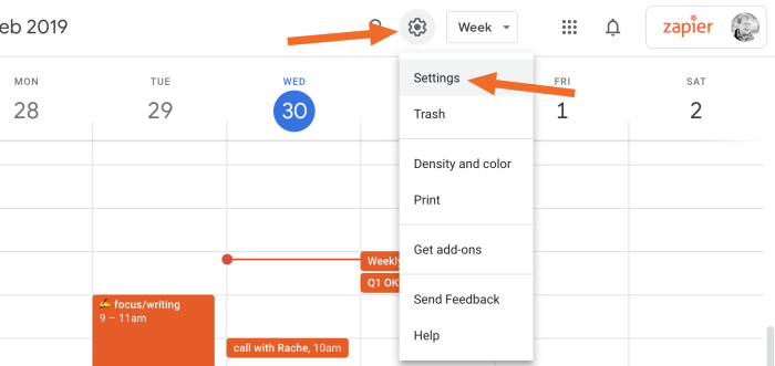 Configuración de Google Calendar