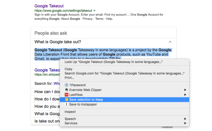 Google Keep context menu