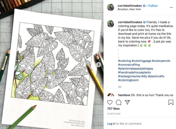 An Instagram post of Corrie Beth Hogg