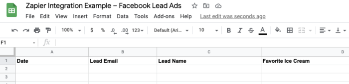 """A screenshot of a Google Sheet with columns for """"date,"""" """"lead email,"""" """"lead name,"""" and """"date."""""""