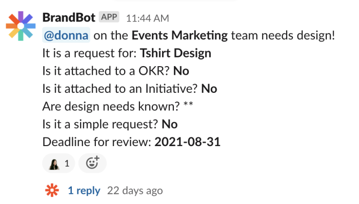 The Slack message we automatically get when the form is filled out