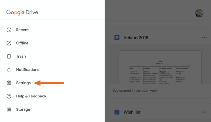 Google Drive settings on an iPad