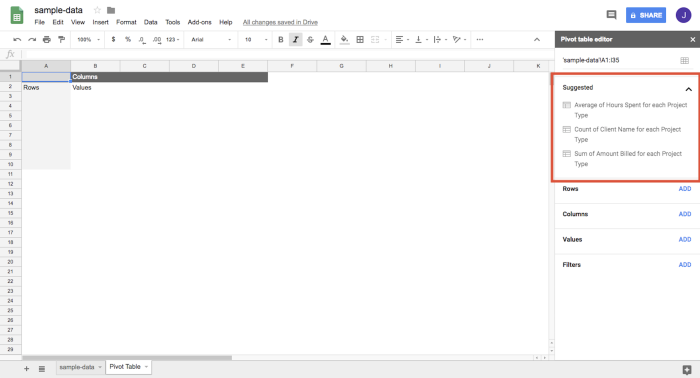 Suggested feature for the pivot table editor on Google Sheets