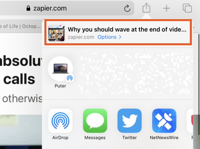 El panel de opciones en iOS