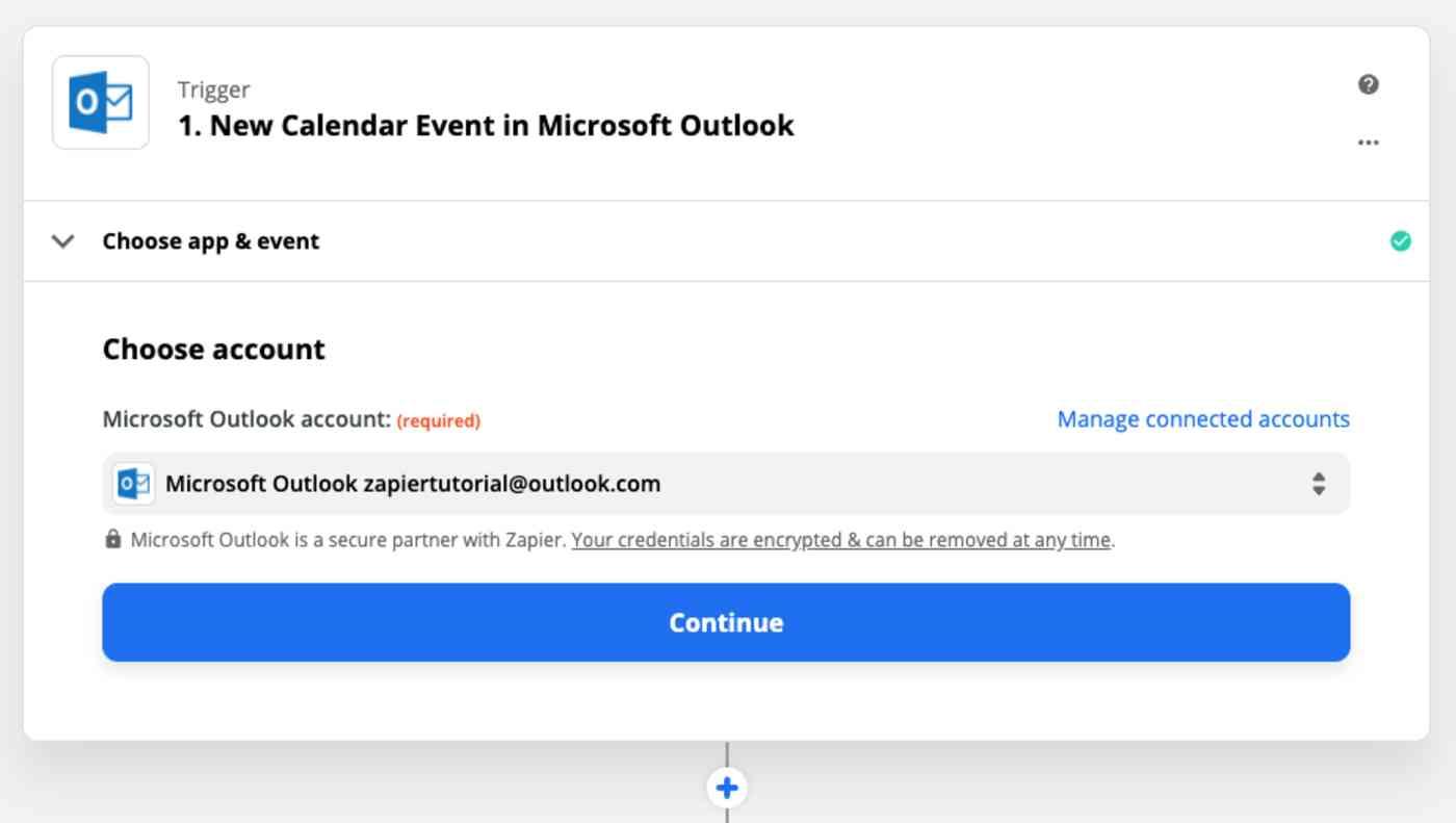 Zap Trigger set up: Choose Microsoft Outlook account