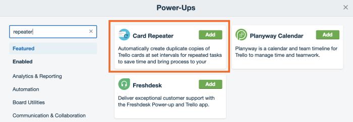 Trello Card Repeater, add button