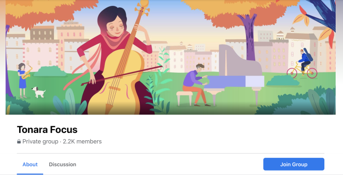A screenshot of Tonara's Facebook Group