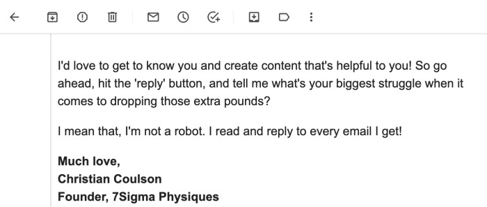 A screenshot of Christian's email to his new subscribers