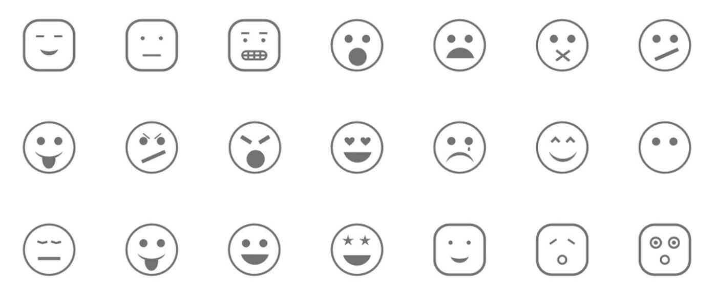 Icons of emoticons with varying emotions