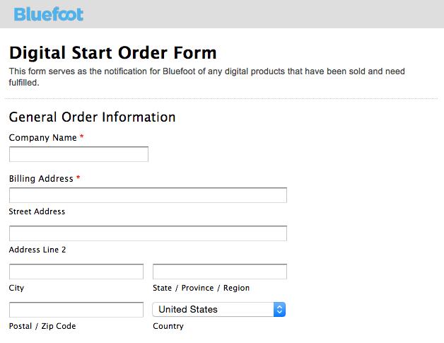 Bluefoot Digital Start Orde form