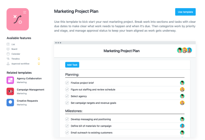 Marketing project template
