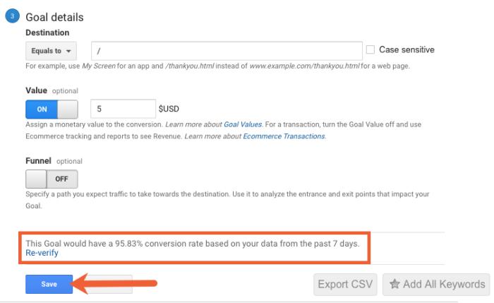 verify and save a google analytics goal