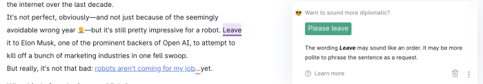 """Grammarly suggesting I add """"please"""" before """"leave"""""""