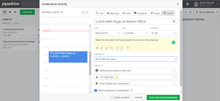 Managing activities in Pipedrive CRM