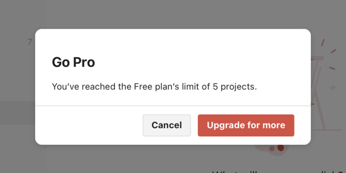 A pop-up in Todoist showing the new limit