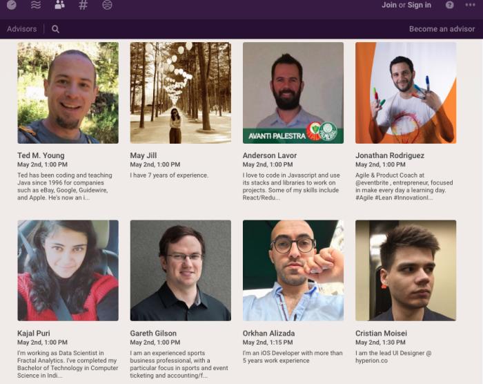 Screenshot of Officehours mentors