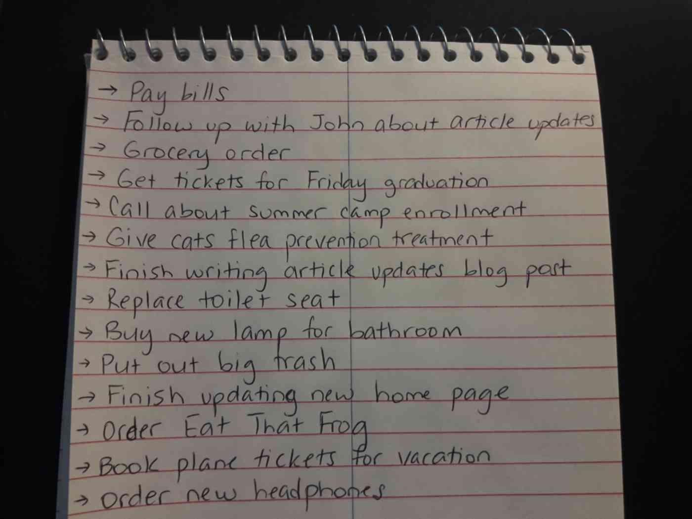 typical to-do list